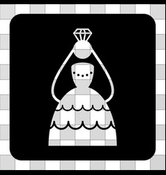 crowned bride rounded square vector image