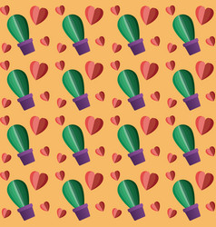 hearts pattern with cactus plant vector image