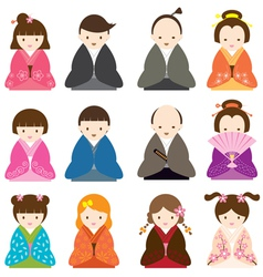 Japanese People dress in Traditional Costume Set vector image vector image