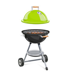 kettle for barbecue with lid vector image vector image