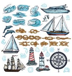 Marine sketch set vector