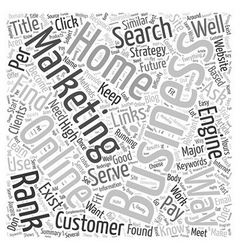 Marketing Your Online Home Business Word Cloud vector image vector image