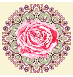 ornamental circle pattern with watercolor rose vector image vector image