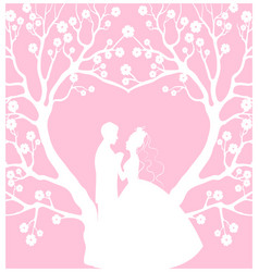 Wedding cardwith groom and bride vector