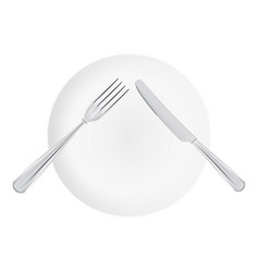 white plate with fork and knife top view isolated vector image