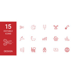 15 design icons vector image