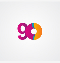 90 years anniversary celebration purple template vector