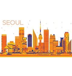 Abstract Seoul Skyline with Color Buildings vector image