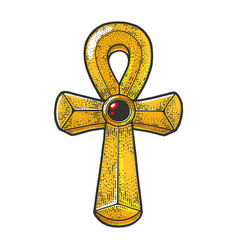 ankh ancient life symbol sketch vector image