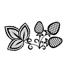 black and white abstract strawberry with leaves vector image
