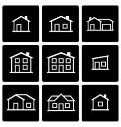 black house icon set vector image vector image
