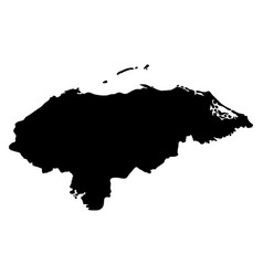 black silhouette country borders map of honduras vector image