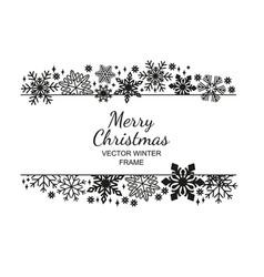 Black-white snowflake frame christmas design vector