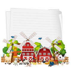 blank paper with animal farm set isolated vector image