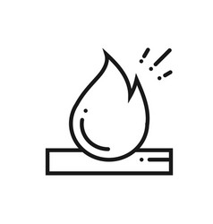 bonfire line icon campfire with firewood sign and vector image