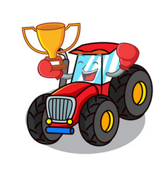 Boxing winner tractor mascot cartoon style vector