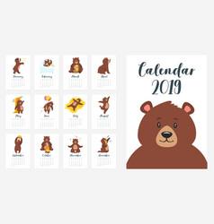 Brown bear grizzly calendar vector