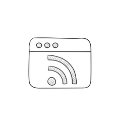 Browser window with wi fi sign sketch icon vector image