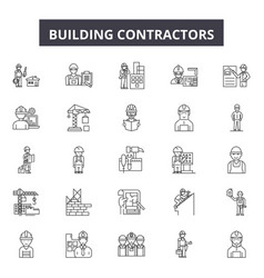 Building contractors line icons signs set vector