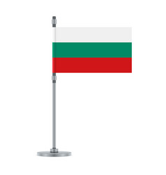 bulgarian flag on the metallic pole vector image