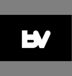 Bv b v black white bold joint letter logo vector