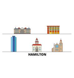 canada hamilton flat landmarks vector image