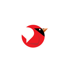 Cardinal bird circle logo vector