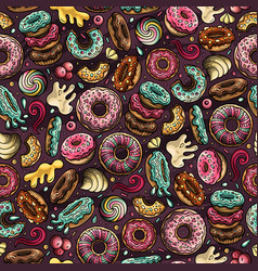 cartoon hand-drawn donuts seamless pattern vector image