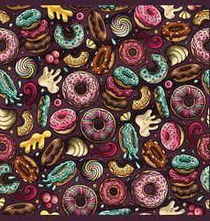 Cartoon hand-drawn donuts seamless pattern vector