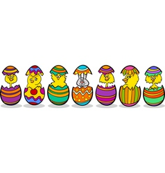 chickens in easter eggs cartoon vector image