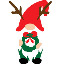 christmas gnome in red hat with vector image