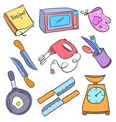 Collection stock kitchen accessories doodles vector