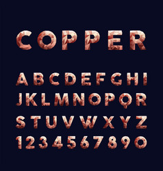 Copper low poly alphabet typography set vector