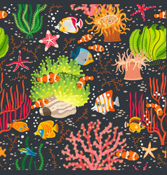 Coral reef seamless pattern with underwater animal vector