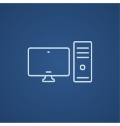CPU and monitor line icon vector