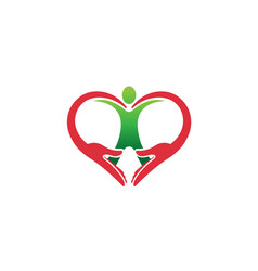 creative hands and human body heart symbol logo vector image