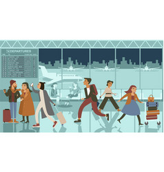 crowded airport terminal at night vector image