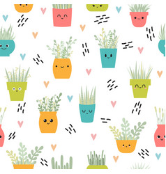 Cute seamless pattern with house plants in pots vector