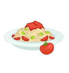 Delicious pasta with natural tomato sauce on plate vector