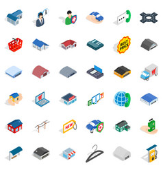 Deposit icons set isometric style vector