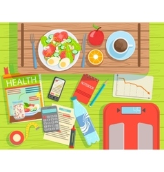 Diet And Weight Loss Elements Set View From Above vector