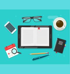digital book reading electronic notebook reader vector image