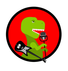 Dino rocktyrannosaurus sings song dinosaur with vector
