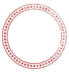 distressed textured star double circle frame vector image