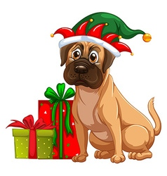 Dog and christmas presents vector