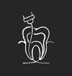 Endodontics chalk white icon on black background vector