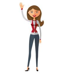 European lady waving her hand flat cartoon vector