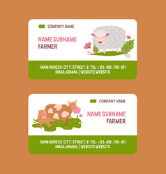 farm animals business-card set domestic vector image