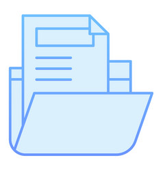 Folder with file flat icon archive folder blue vector