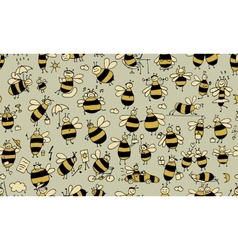 Funny bees seamless pattern for your design vector image